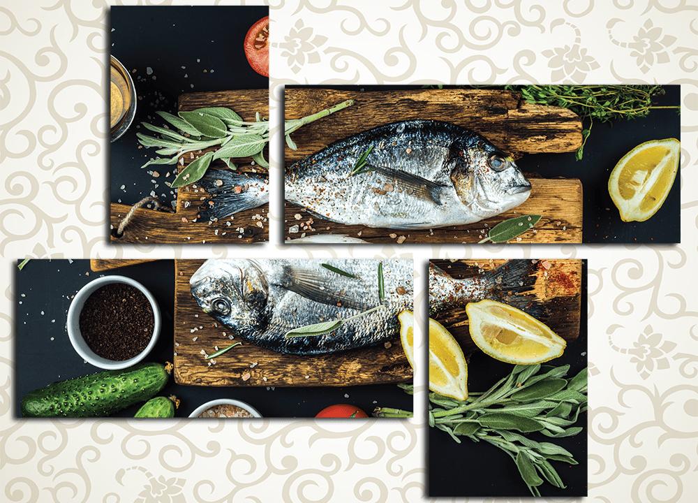 Модульная картина Блюдо из рыбы