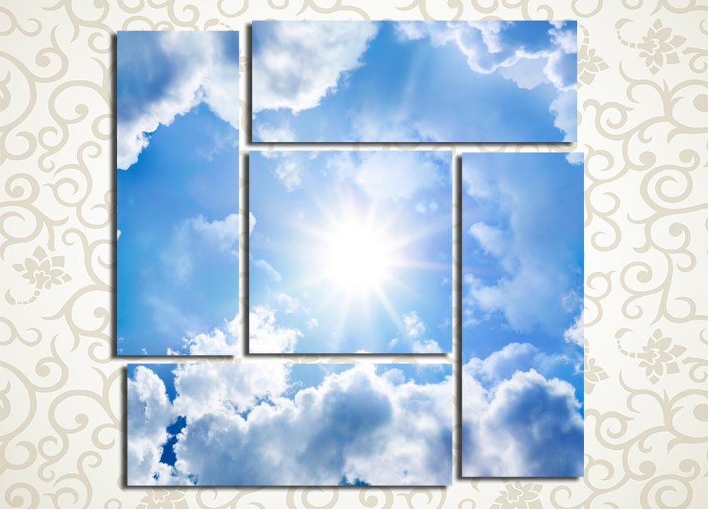 Модульная картина Солнце и облака