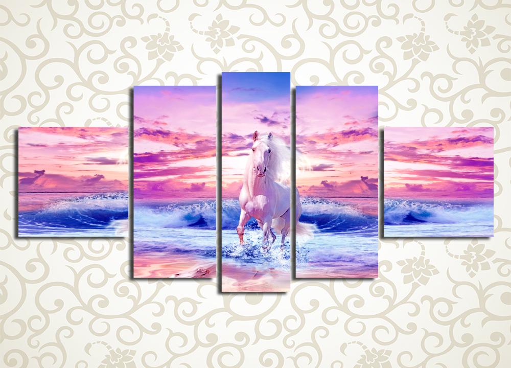 Модульная картина Белый конь на закате