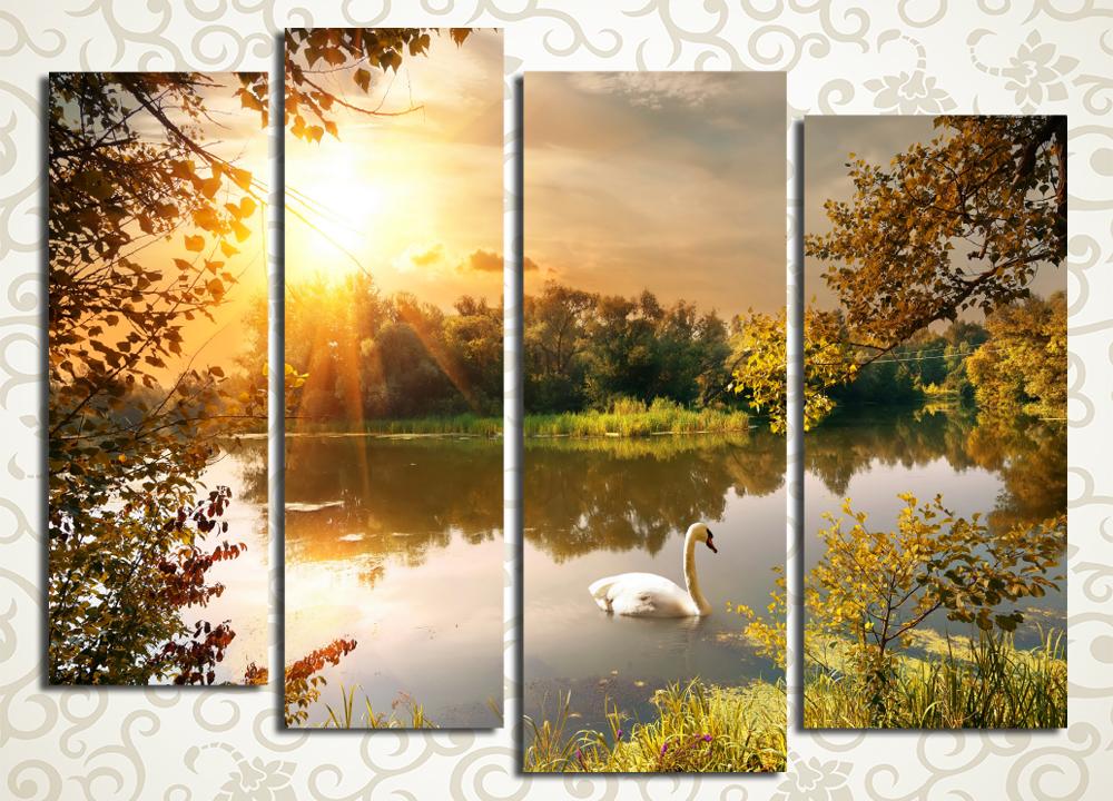 Модульная картина Одинокий лебедь на пруду