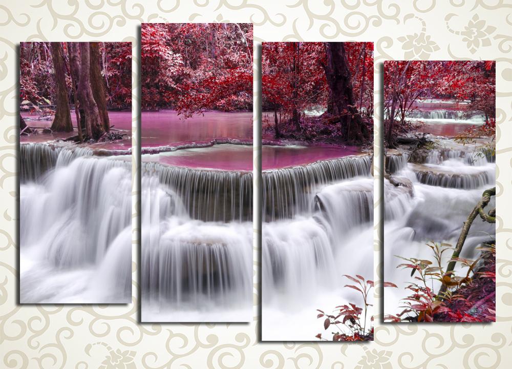 Модульная картина Японский садУмиротворяющая и красивая модульная картина «Японский сад» изображает каскадный водопад среди осеннего парка. Полотно выдержано в приятных красноватых и белых тонах, оно станет отличным украшением спальни, гостиной, прихожей, а также рабочего кабинета. Изображение стоит из 4 вертикальных модулей, при этом общая его компоновка – горизонтальный прямоугольник.<br>