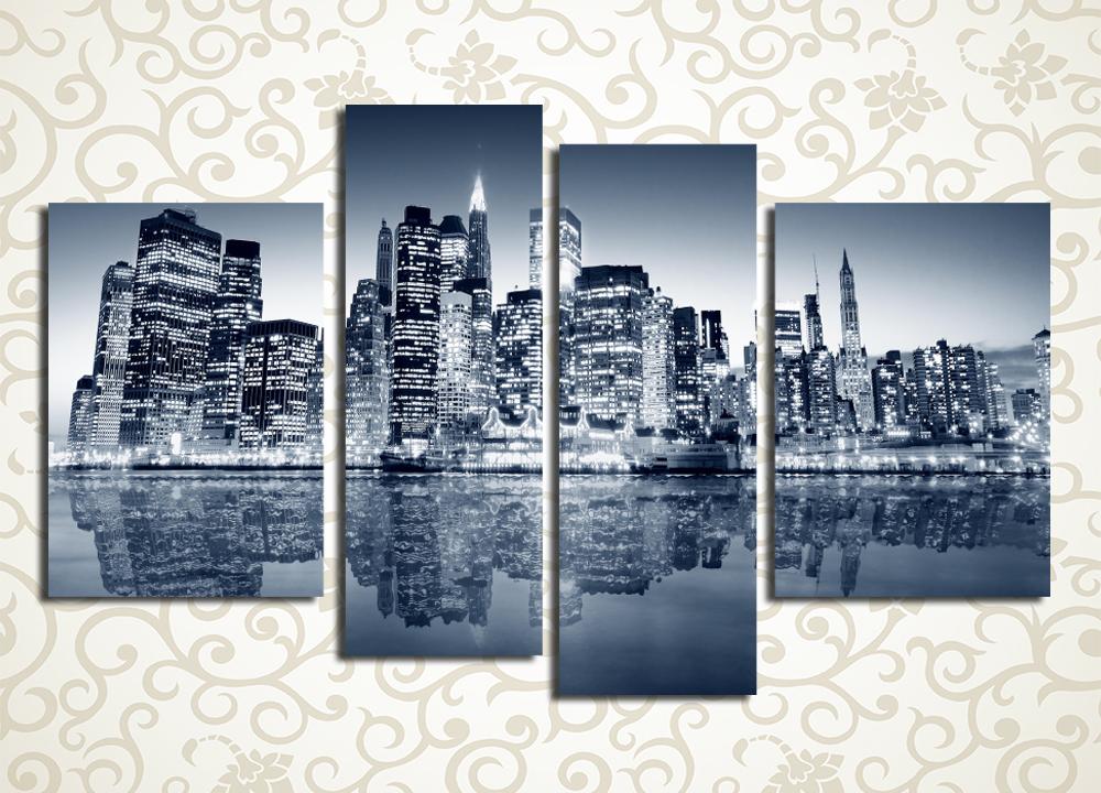 Модульная картина Город в отражении