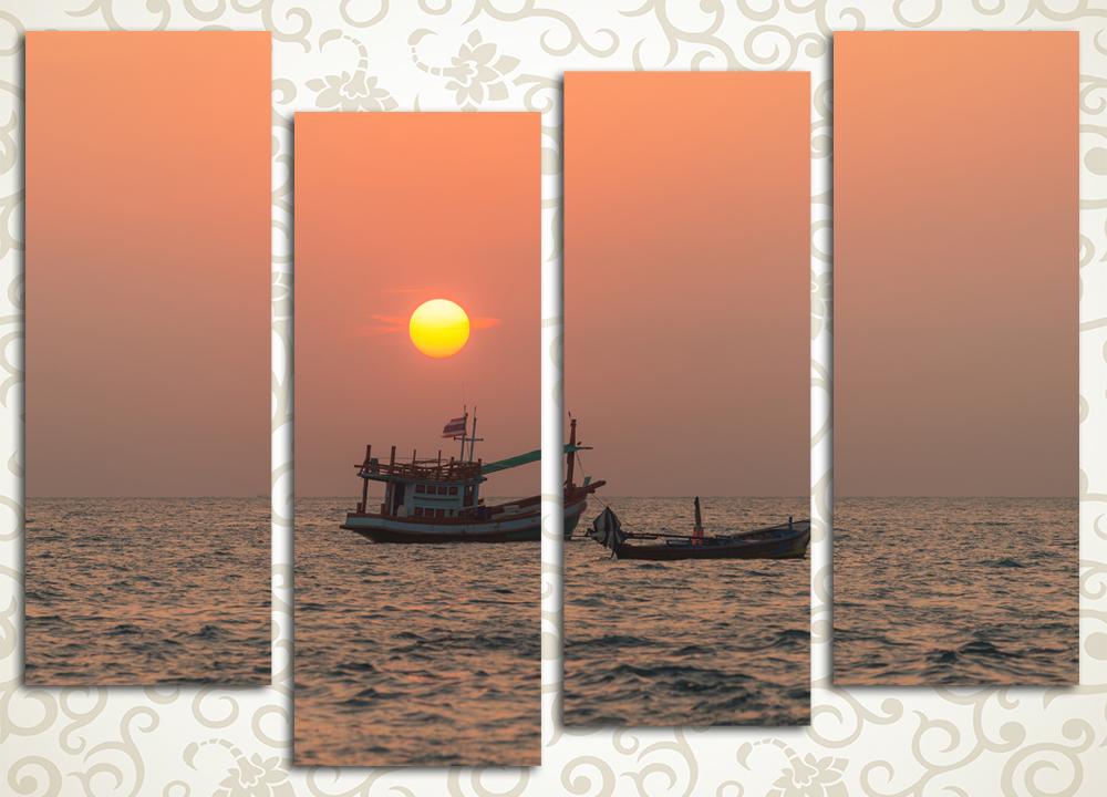 Модульная картина Алый закат над морем