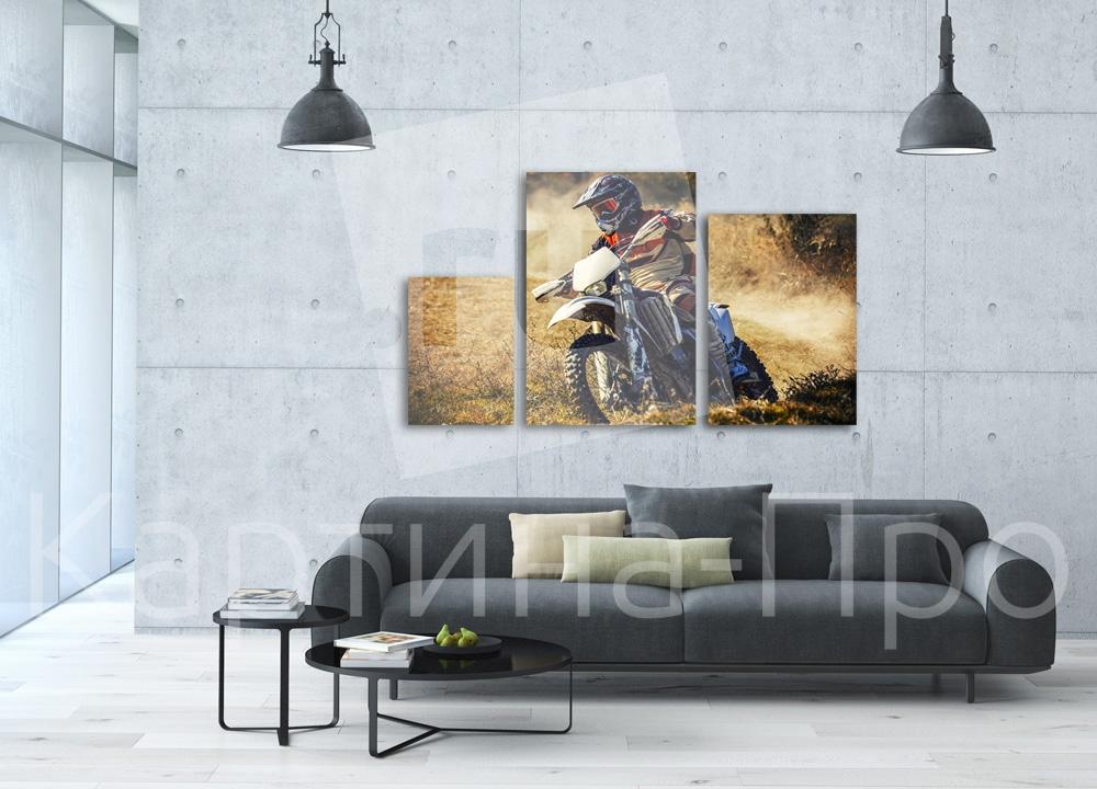Модульная картина Мотоциклист на вираже от Kartina-Pro