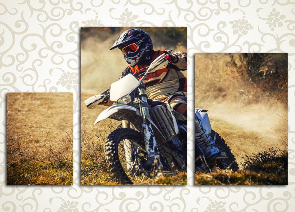 Модульная картина Мотоциклист на вираже