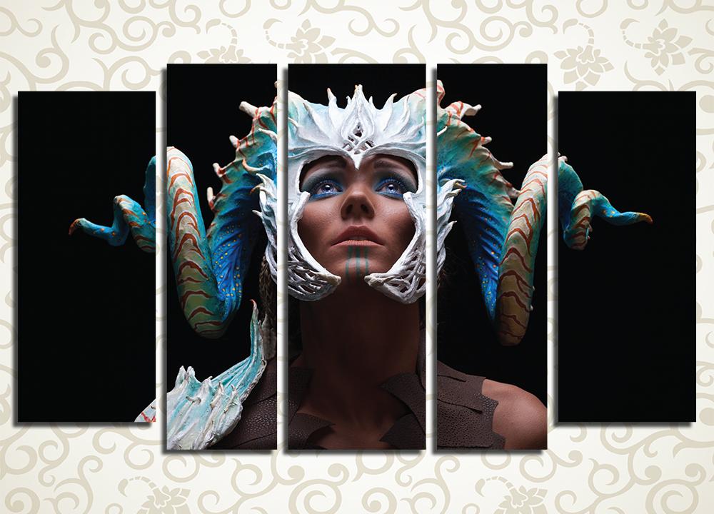 Модульная картина Девушка-дракон