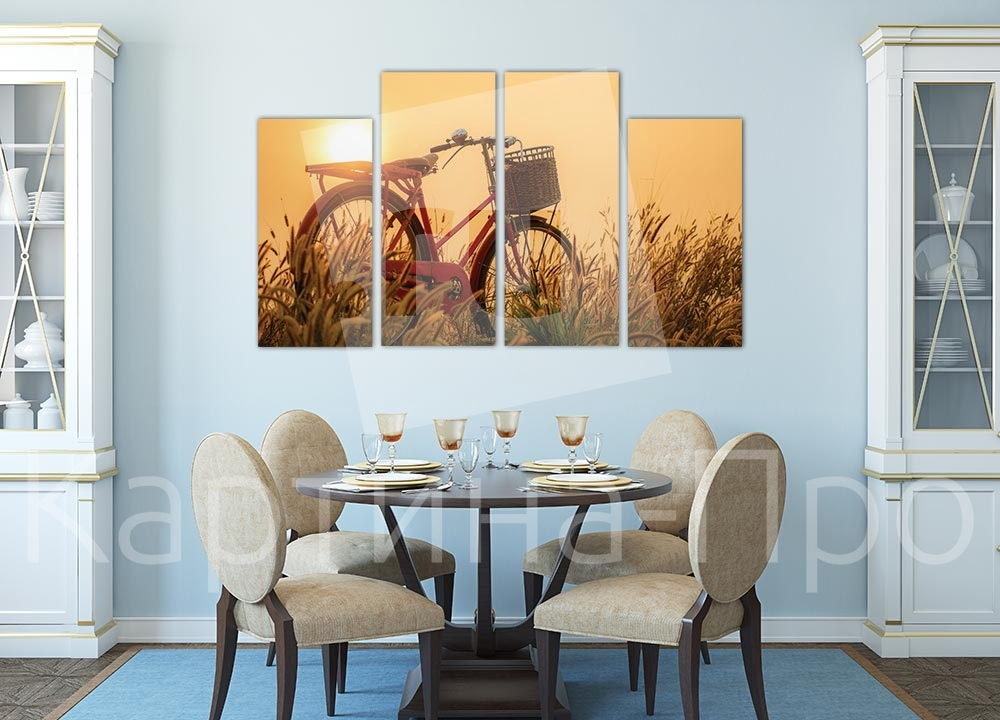 Модульная картина Закат над полем от Kartina-Pro