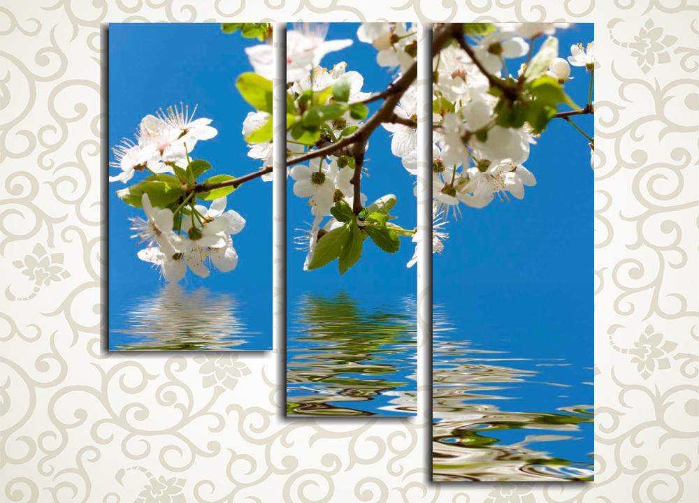 Модульная картина Отражение цветущей весны