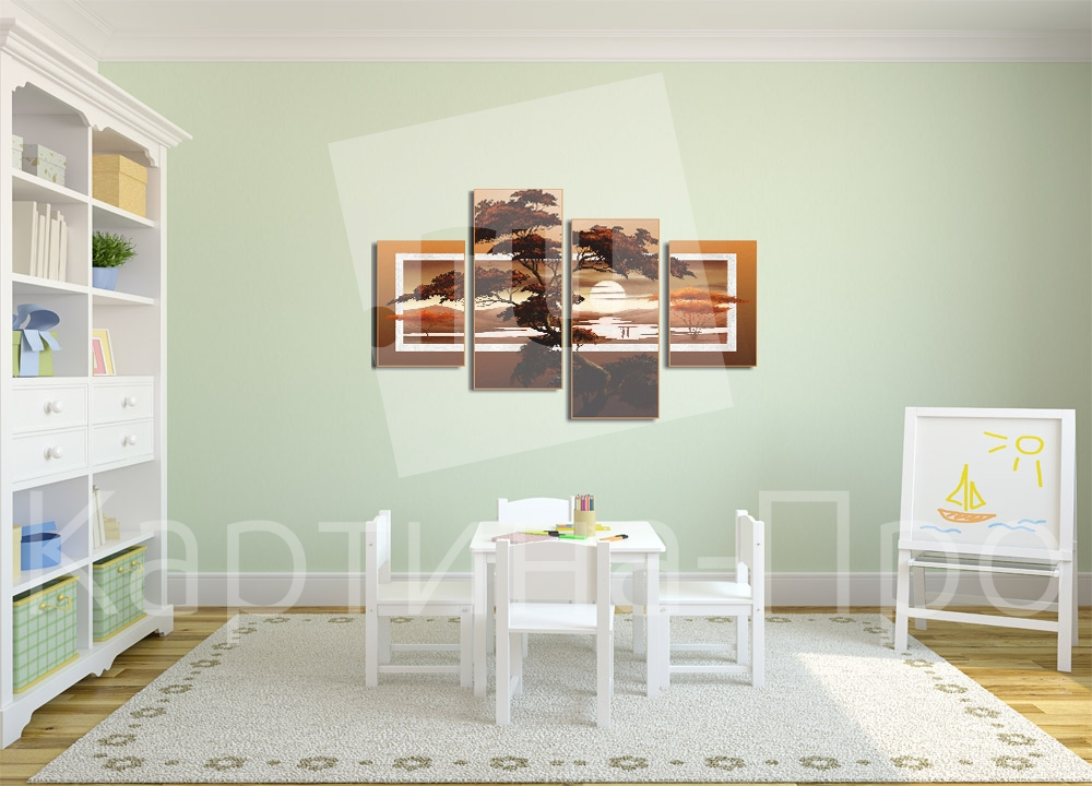 Модульная картина Закат над саванной от Kartina-Pro