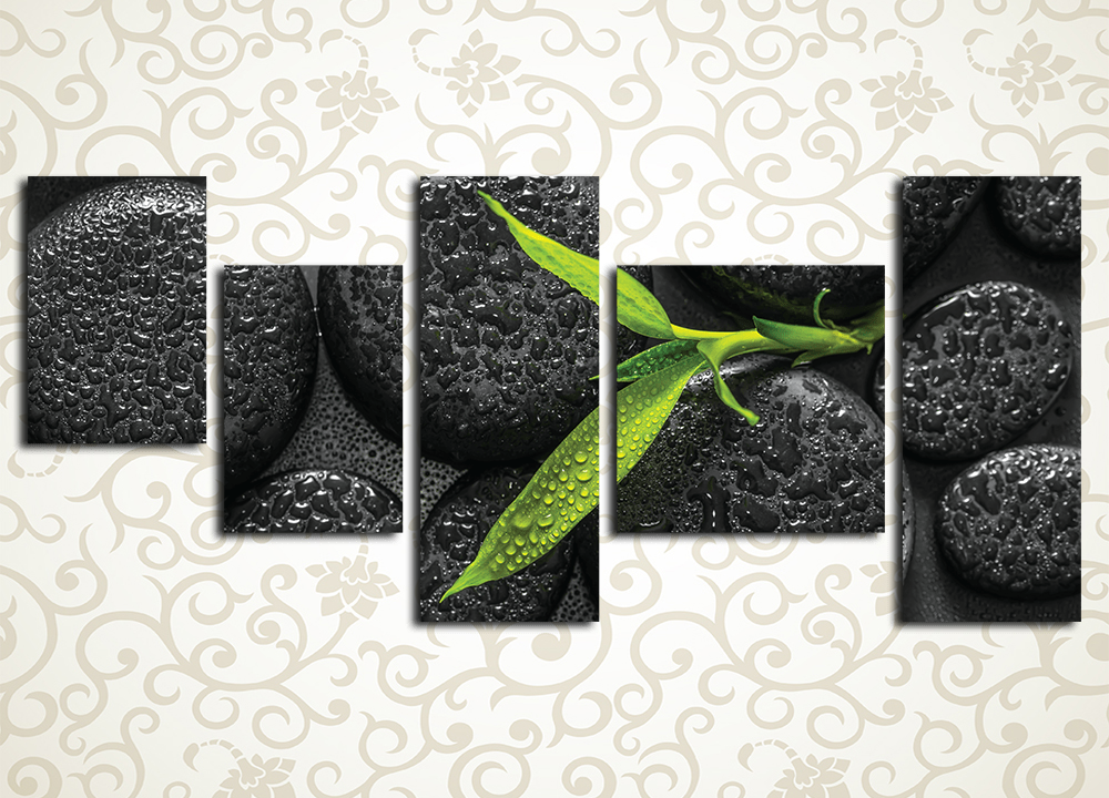 Модульная картина Бамбук на камнях