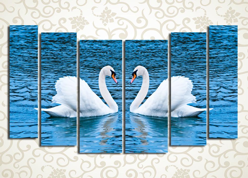 Модульная картина Любовь и лебеди