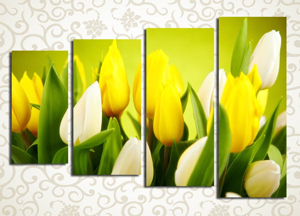 Модульная картина Солнечные тюльпаны