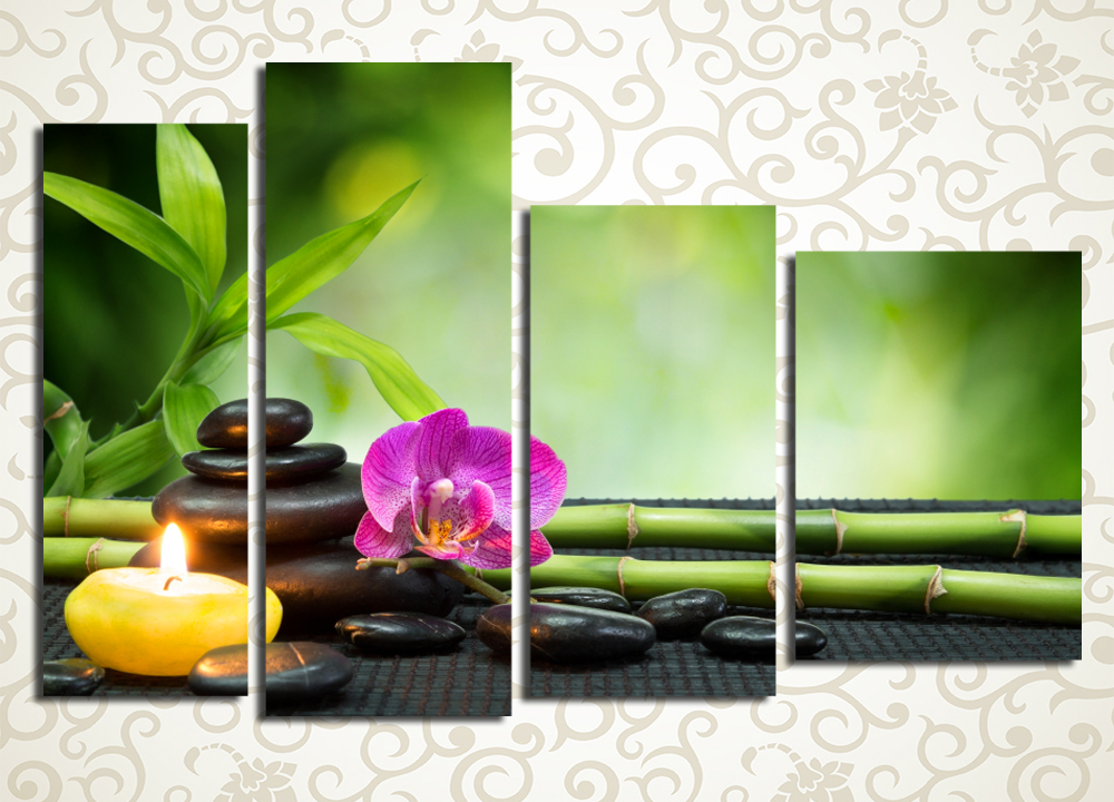 Модульная картина Бамбук и орхидеи