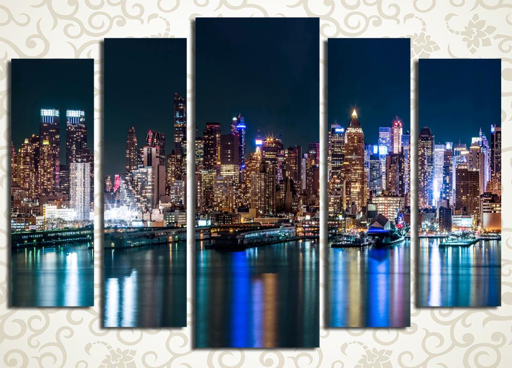 Модульная картина Отражение ночного города