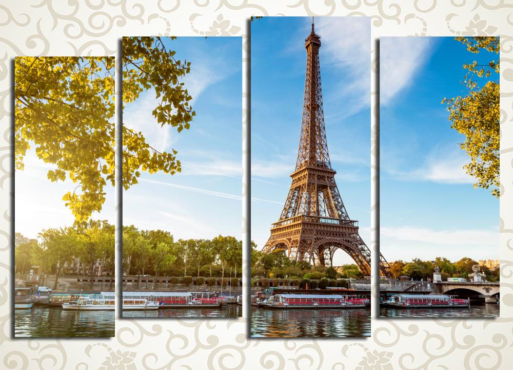 Модульная картина Рассвет над ПарижемЯркие краски французской осени подарит вашему дому модульная картина «Рассвет над Парижем». Она изображает французскую столицу ранним солнечным утром, Сену с прогулочными теплоходами и легендарную башню среди желтой листвы парков. Полотно лучится светом, оно станет отличным украшением интерьера любой комнаты. Картина состоит из 4 блоков вертикальной формы.<br>