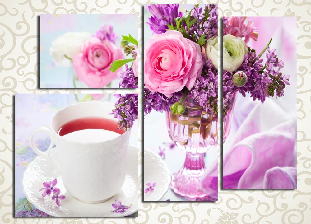 Модульная картина Букет цветов и чашка чая