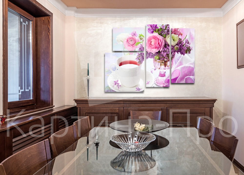 Модульная картина Букет цветов и чашка чая от Kartina-Pro