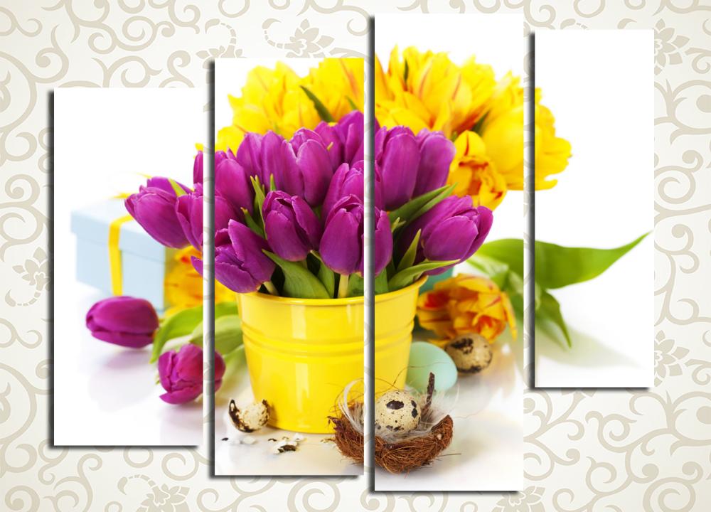 Модульная картина Желтые и фиолетовые тюльпаны