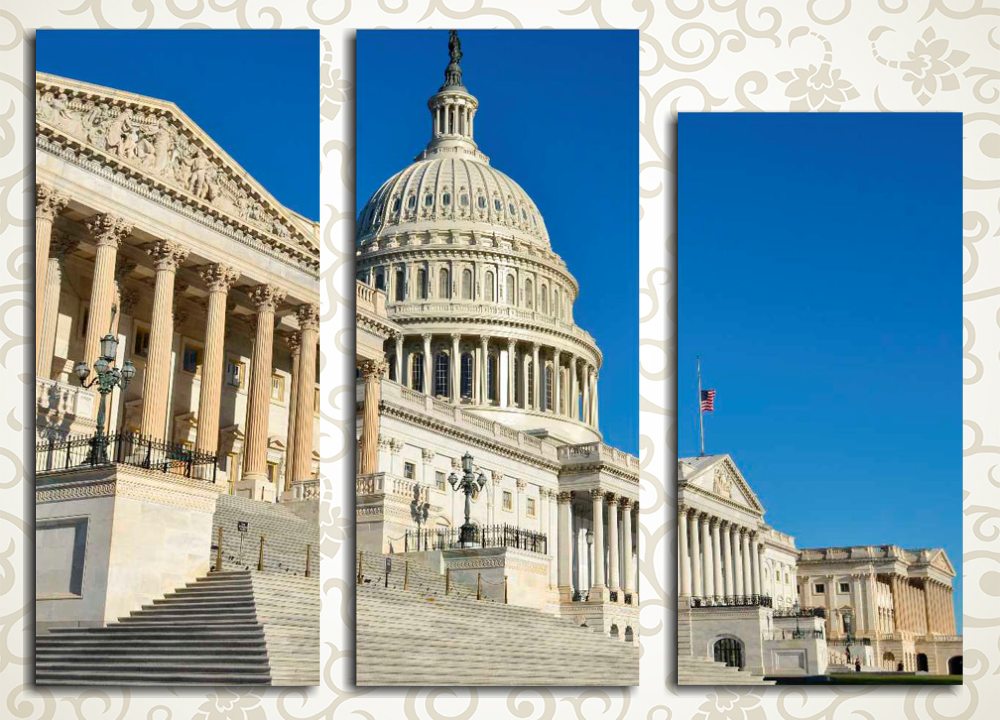 Модульная картина Монументальность ВашингтонаМодульная картина «Монументальность Вашингтона» изображает американский Капитолий на фоне ясного синего неба. Это полотно станет выразительным украшением холла, гостиной, а также спальни или рабочего кабинета. Картина состоит из 3 вертикальных модулей, при этом ее общая компоновка – горизонтальная, что облегчает размещение полотна на любой стене.<br>