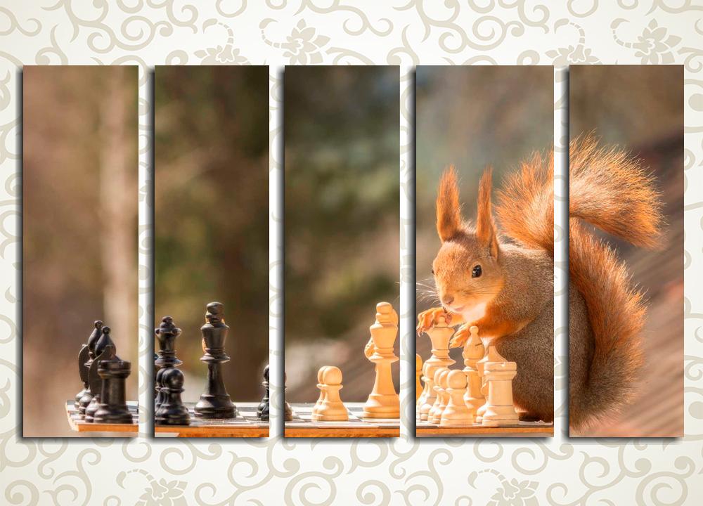 Модульная картина Пушистый шахматист