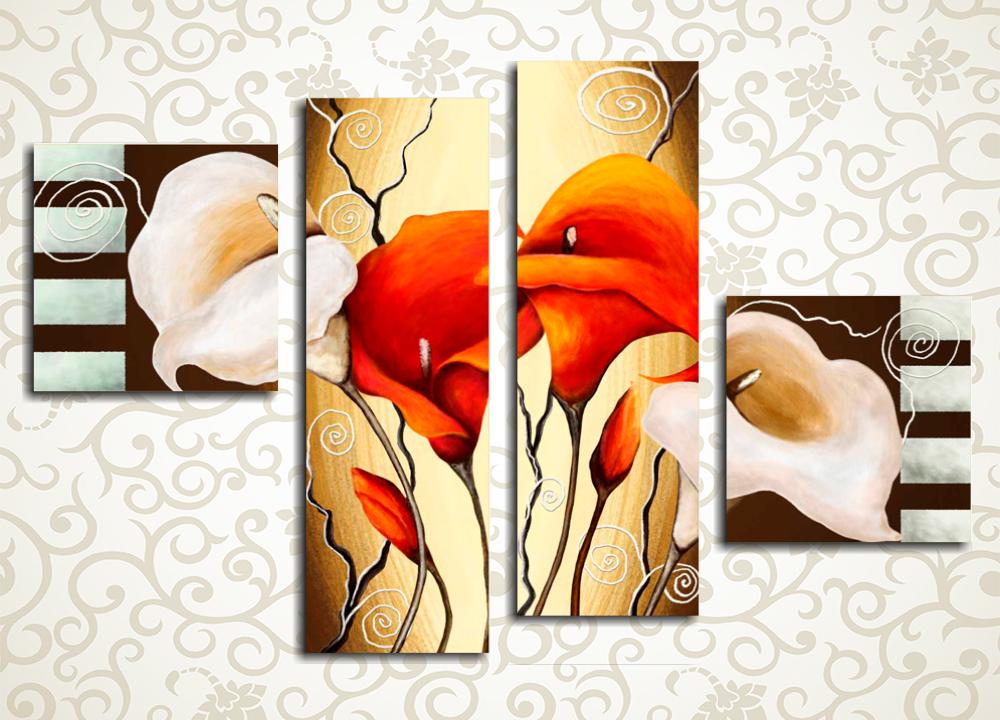Модульная картина Разноцветные каллыЦветы и фрукты<br>Живописным и стильным венцом интерьера любой комнаты современного дома станет модульная картина «Разноцветные каллы». Она изображает восхитительные красные и кремовые цветы на абстрактном фоне. 4 модуля, составляющие композицию, изготовлены на прочном сосновом каркасе водостойкими латексными красками. Это обеспечит картине долгий срок службы и яркость палитры.<br>