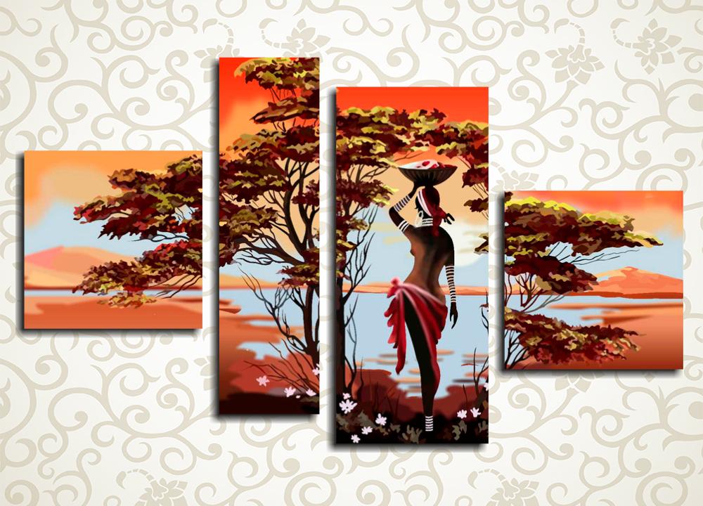 Модульная картина Красоты  АфрикиЯрким и стильным украшением современного интерьера станет модульная картина «Красоты Африки». Полотно изображает африканку на фоне потрясающего озерного пейзажа и далеких гор. Палитра изображения выдержана в приятных коричнево-золотистых тонах. Картина состоит из 4 модулей различной формы, а ее горизонтальная компоновка позволяет комфортно разместить полотно на любой стене помещения.<br>