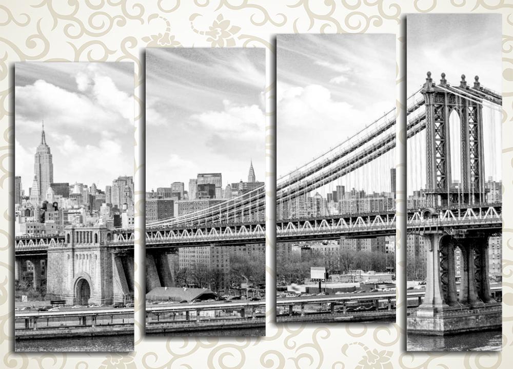 Модульная картина Панорама Бруклинского моста