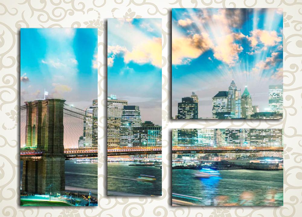 Модульная картина Рассвет над Бруклинским мостом
