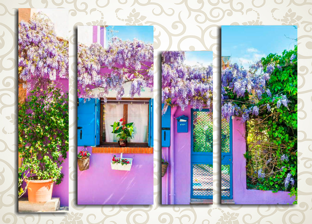 Модульная картина Цветущая улочка Прованса