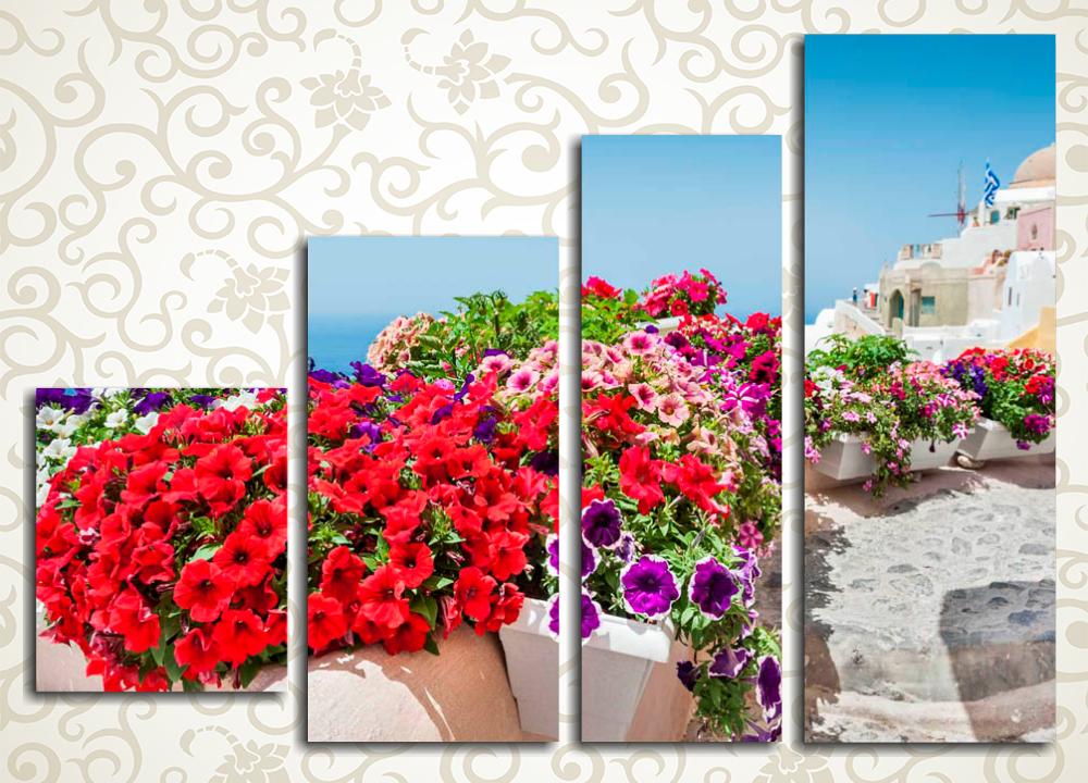 Модульная картина Цветущий Санторини (Греция)