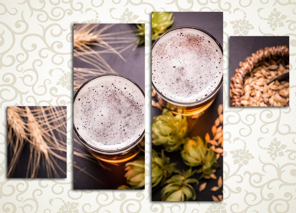 Модульная картина Два стакана пиваБодрящий глоток живительного напитка и колоритный натюрморт из хмеля, солода и веточек ячменя: модульная картина «Два стакана пива» станет украшением вашей кухни или столовой. Картина выполнена в приятных зелено-золотистых тонах и представляет собой интересную композицию из четырех разных полотен. Благодаря яркости латексных красок и особой системе печати изображение сохраняет свою первозданную свежесть.<br>