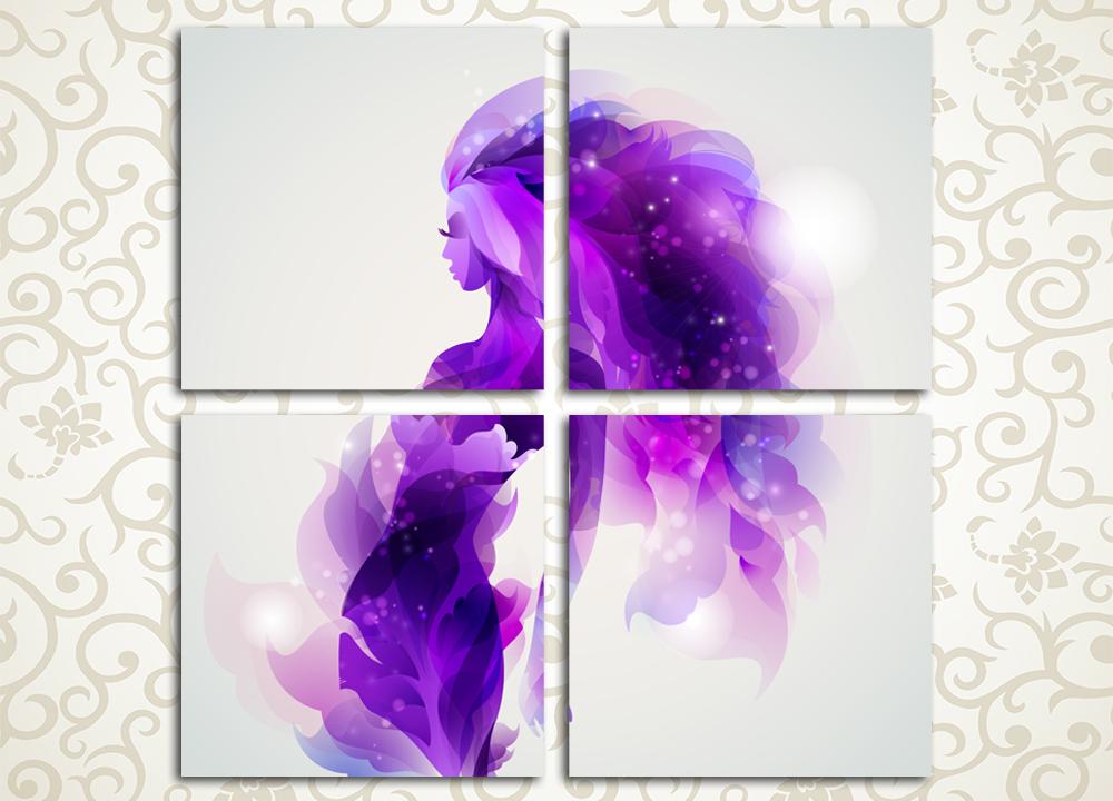 Модульная картина Изящный силуэтПриятным и привлекательным украшением интерьера станет модульная картина «Изящный силуэт». Она выполнена в стиле абстракция и выдержана в приятных бело-лиловых тонах. Современные латексные краски отличаются водостойкостью и прочностью, что позволит сохранить свежесть изображения на многие годы. Полотно состоит из 4 квадратных модулей, объединенных в общую композицию также квадратной формы. Сосновые подрамники модулей изготовлены из сосны и обтянуты холстом вручную. «Изящный силуэт» прекрасно подойдет к интерьеру гостиной, кухни, прихожей, спальни и офиса.<br>