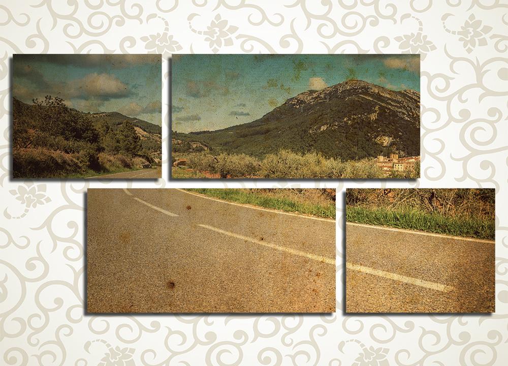 Модульная картина Дорога в никудаДля самых оригинальных и сложных натур мы предлагаем модульную картину «Дорога в никуда». Необычная композиция представляет взору пустынную трассу в степи, уходящую к далеким горам. Изображение в теплых тонах винтажной сепии придаст любому интерьеру особенный уют и безмятежность, а для тех, кто обладает воображением, такая картина готовит множество историй. 4 блока в оригинальном асимметричном расположении добавляют реалистичности и объема картинке.<br>