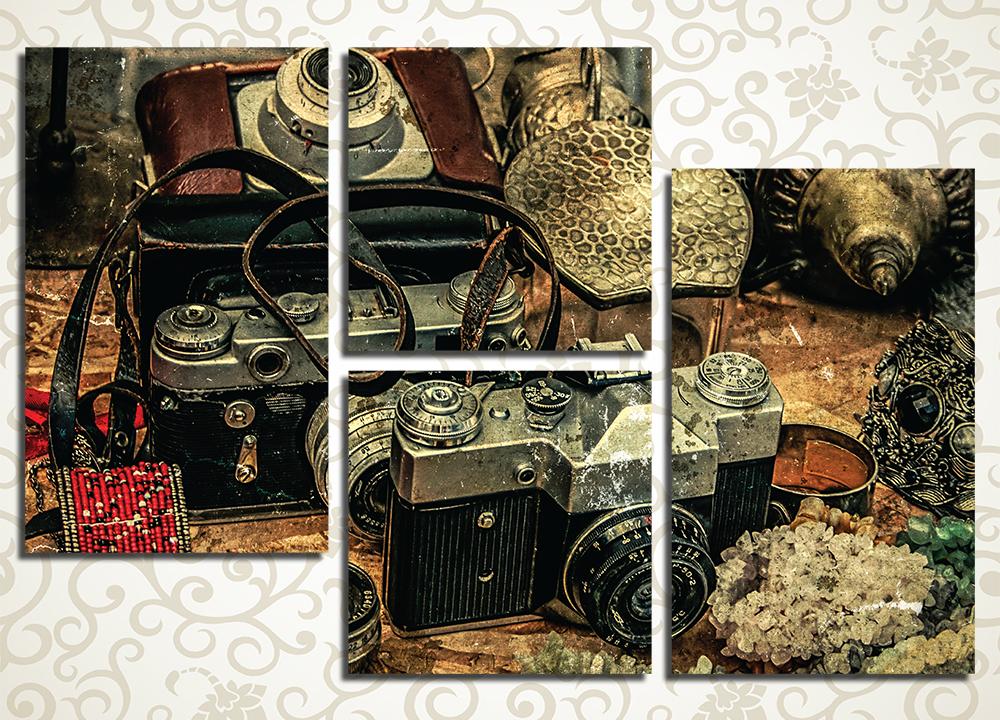 Модульная картина Старинный фотоаппаратДетализированная и необычная композиция модульной картины «Старинный фотоаппарат» станет изящным дополнением интерьера вашей квартиры и придется по вкусу ценителям винтажных и старинных вещей. Оригинальный рисунок с изображением старого пленочного фотоаппарата станет выбором оригинальных натур или тех, кто увлекается фотографией. Такую картину можно преподнести в подарок другу-фотографу, она гармонично впишется в оформление спальни, гостиной, холла или прихожей, подойдет для творческой или фотостудии.<br>