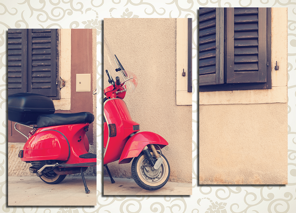 Модульная картина Красный скутер в Риме