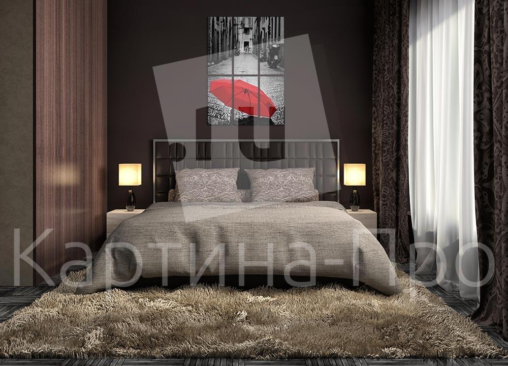 Модульная картина Красный зонтик от Kartina-Pro