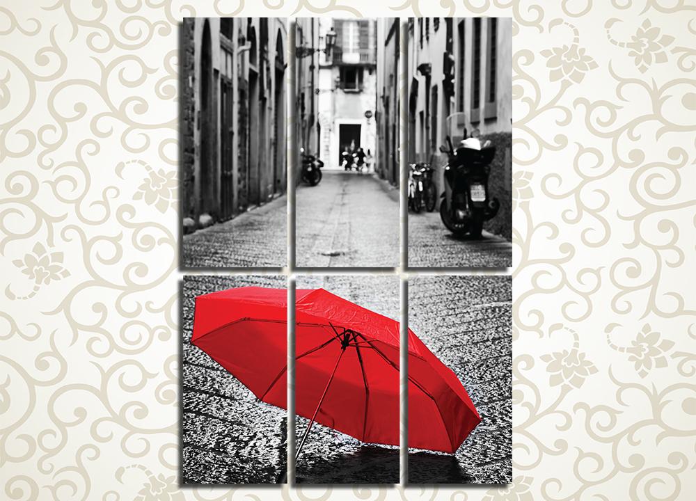 Модульная картина Красный зонтик