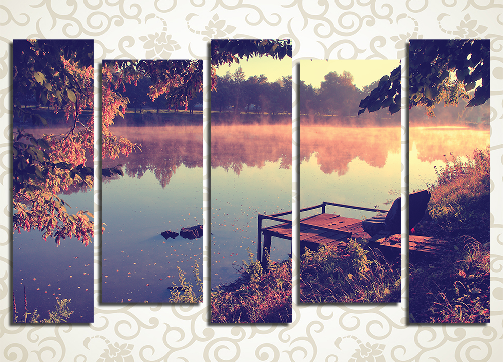 Модульная картина Живописный закат на озере