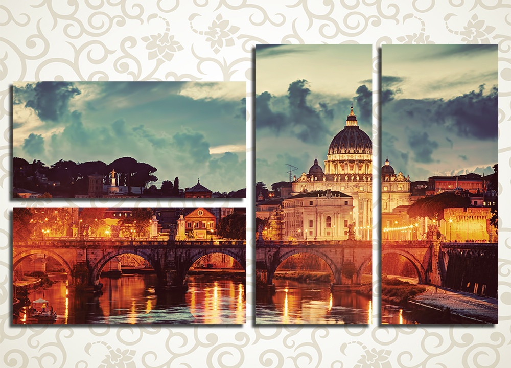 Модульная картина Ночь в Риме (Италия)