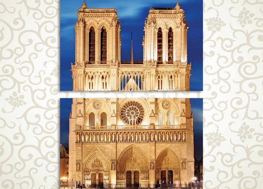 Модульная картина Вид над Нотр-Дам де Пари, Париж