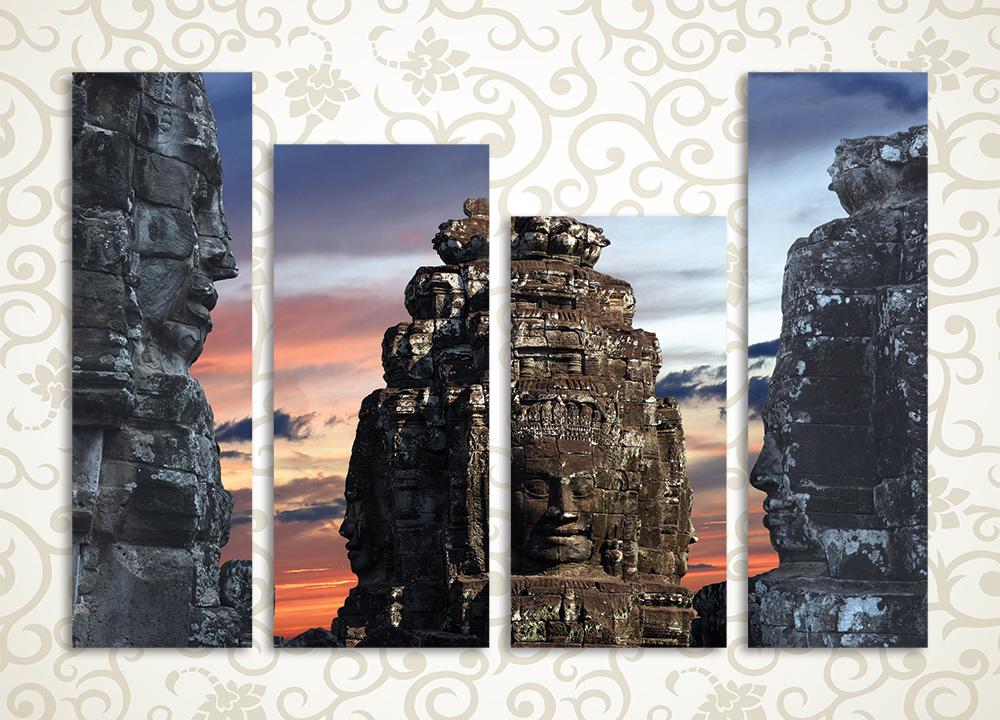 Модульная картина Отголоски древнего мираМодульная картина «Отголоски древнего мира» станет отличным экзотическим украшением современного домашнего интерьера. Она изображает развалины таинственных старинных храмов и вырезанные в камне изваяния древних богов. Композиция состоит из 4 вертикальных модулей. Каждый из них располагается на прочном каркасе из сосновой древесины и вручную обтянут холстом. Он обеспечивает максимально естественное восприятие рисунка.<br>