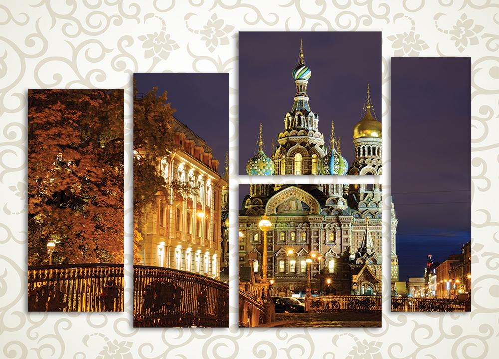 Модульная картина Ночное обаяние Петербурга