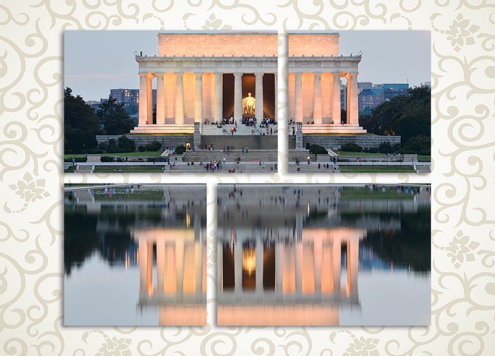 Модульная картина Отражение Мемориала ЛинкольнаМодульная картина «Отражение Мемориала Линкольна» изображает знаменитый памятник архитектуры на берегу спокойного водоема. Наилучшим образом полотно будет выглядеть в зале, холле, гостиной, а также в рабочем кабинете. Композиция состоит из 4 модулей различной формы, ее общая компоновка – горизонтальный прямоугольник. Это позволяет без труда разместить картину на любой стене. Латексные краски противостоят влажности и не требуют защиты лаком.<br>