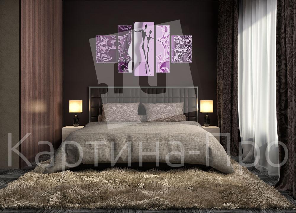 Модульная картина Фиолетовые силуэты от Kartina-Pro