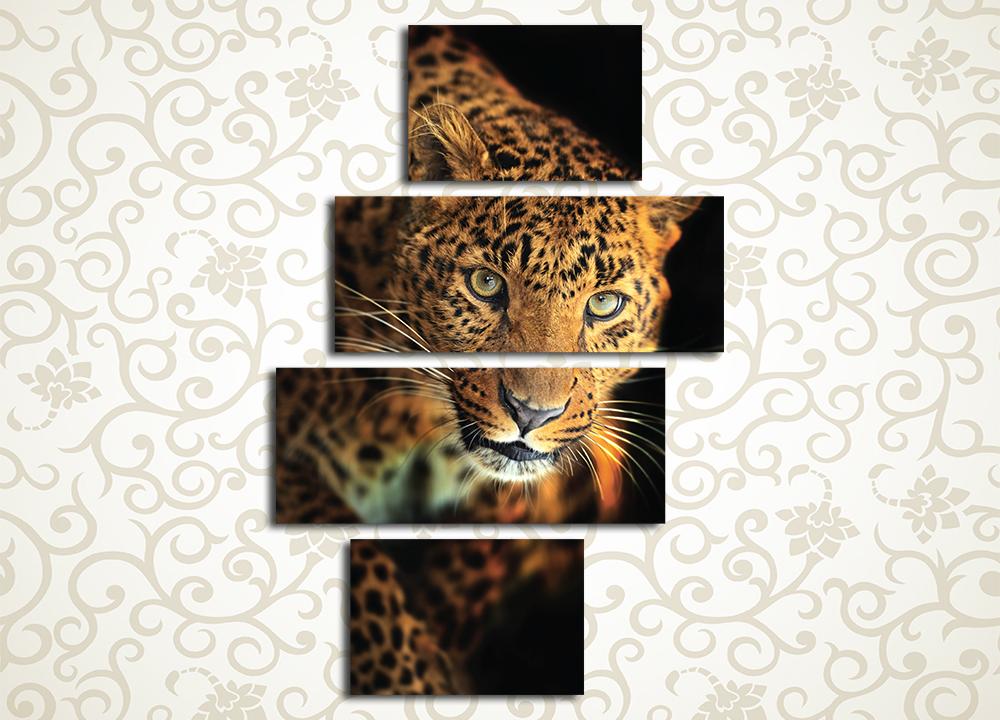 Модульная картина Радующийся леопард