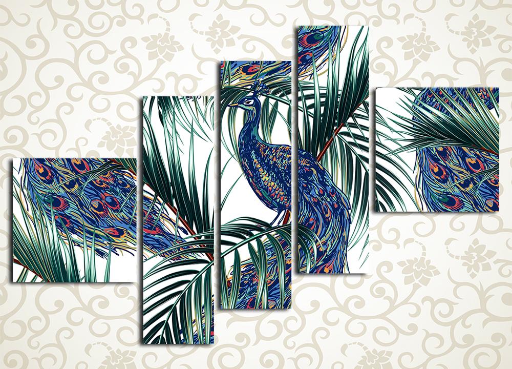 Модульная картина Графичный павлинМодульная картина «Графичный павлин» станет эстетичным и ярким венцом изысканного современного интерьера. Она изображает царственных птиц на светлом фоне. Буйство природных красок будет отлично смотреться в интерьере прихожей гостиной, холла, зала, кухни, а также спальни. Картина состоит из 5 модулей различной формы. Каждый сегмент изготовлен на прочном каркасе из натуральной сосны и обтянут холстом вручную.<br>