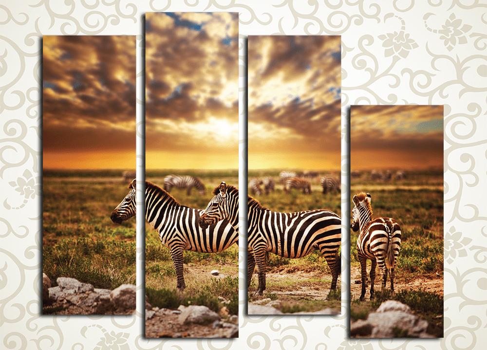 Модульная картина Зебры на закатеМодульная картина «Зебры на закате» придется по душе любителям животных. Она изображает пейзаж вечерней африканской саванны и трех зебр на фоне золотистого заката. Изображение состоит из 4 вертикальных модулей, при этом общая компоновка картины – горизонтальная. Каждый сегмент изготовлен под строгим контролем качества на прочном сосновом каркасе. Латексные краски отлично противостоят воздействию влажности и солнечных лучей.<br>