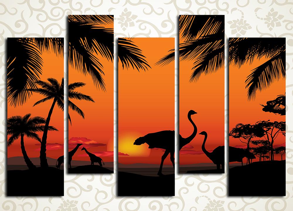 Модульная картина Закат в саваннеМодульная картина «Закат в саванне» подарит вашему дому вечерние лучи африканского солнца. Полотно изображает пейзаж в красных тонах и силуэтные фигуры страусов, жирафов и пальм. Картина состоит из 5 вертикальных модулей, каждый из которых собран на прочном сосновом каркасе под строгим контролем качества. Высокотехнологичные латексные краски не нуждаются в защите лаком и сохранят первозданную свежесть на много лет.<br>