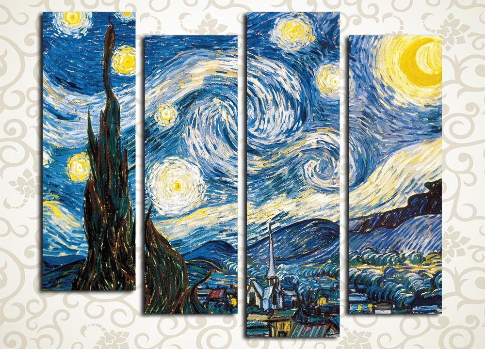 Модульная картина Звездная ночь. Ван Гог