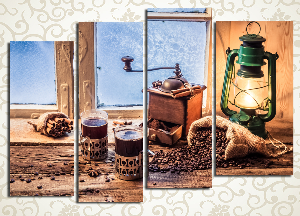 Модульная картина Уютный вечерМодульная картина «Уютный вечер» подарит интерьеру комнаты позитивную и теплую атмосферу. Полотно изображает натюрморт с керосиновой лампой, кофемолкой, стаканами в подстаканниках и трубочками корицы на фоне деревянной оконной рамы. Голубые морозные узоров на оконном стекле приятно контрастируют с теплыми коричневатыми и золотистыми красками композиции. Каждый сегмент собран под тщательным контролем качества на прочном сосновом подрамнике и обтянут холстом вручную.<br>
